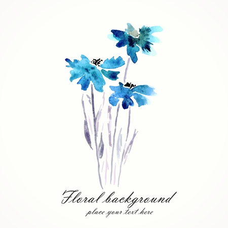 watercolor flower: Blue flowers  Watercolor floral bouquet  Floral decorative element  Vector floral background