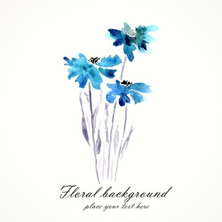 jardines flores: Flores azules de la acuarela ramo floral Elemento decorativo floral del vector fondo