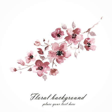 Cherry blossom  Sakura flowers  Floral background  Branch with pink flowers  Birthday card