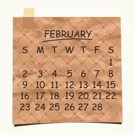 detachable: 2014 calendar design  Febrary