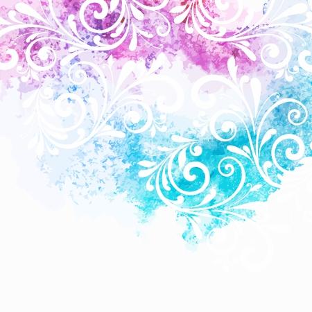 turquesa: Fondo floral Acuarela