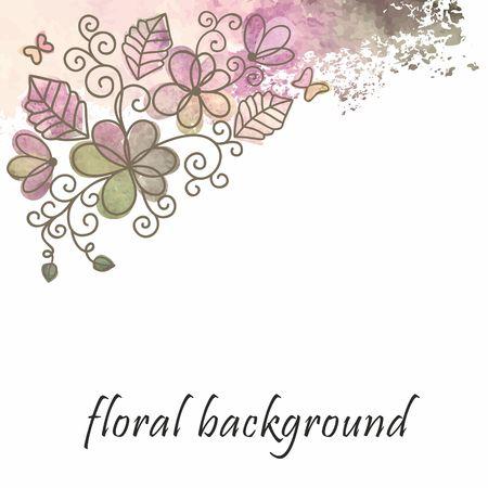Birthday postcard  Floral background  Illustration