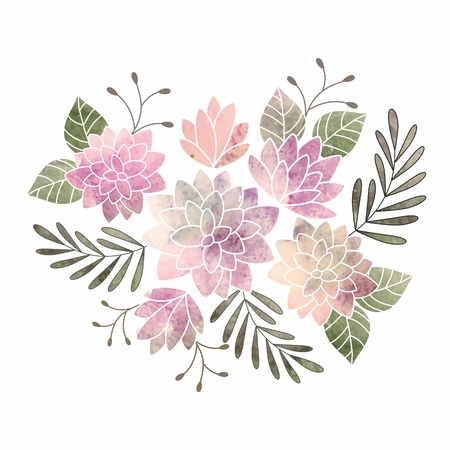 grunge pattern: Birthday card  Watercolor floral bouquet