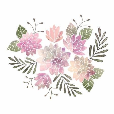 flower patterns: Verjaardagskaart Aquarel bloemenboeket Stock Illustratie
