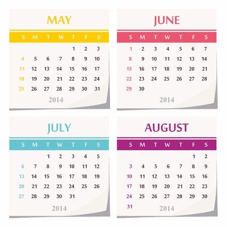 2014 calendar design - set of four months  may, june, july, august