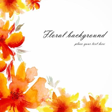 붉은 꽃 양귀비 수채화 꽃 카드 꽃은 꽃 배경 벡터 초대 생일 카드 꽃다발