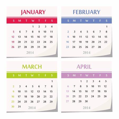 detachable: 2014 calendar design - set of four months  january, february, march, april,
