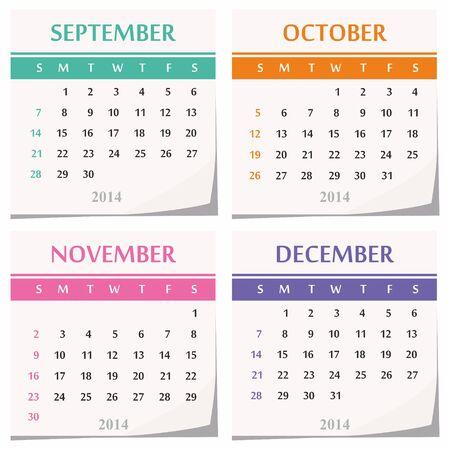 detachable: 2014 calendar design - set of four months  september, october, november, december  Illustration
