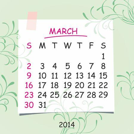 2014 calendar design  March