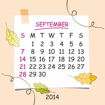 detachable: 2014 calendar design  September  Illustration