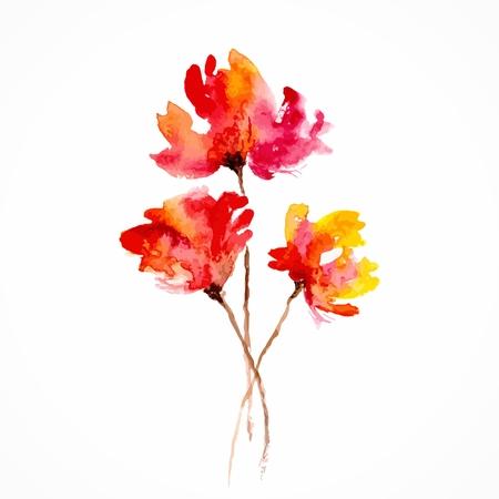 Flores rojas amapolas Acuarela ilustración floral bouquet floral del vector fondo floral Tarjeta de cumpleaños Foto de archivo - 25156248