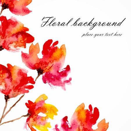 Les fleurs rouges aquarelle de pavots carte florale bouquet floral de vecteur carte d'anniversaire d'invitation de fond Banque d'images - 25156249