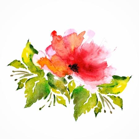 赤い花ケシ水彩花飾り花の花束ベクトル花の背景の誕生日カード
