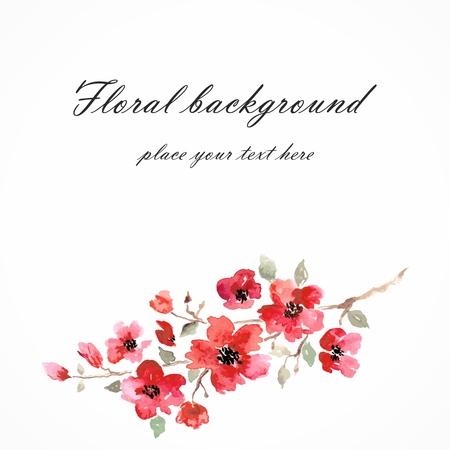 fleur cerisier: Cherry blossom Sakura fleurs floral Direction de fond avec des fleurs roses carte d'anniversaire