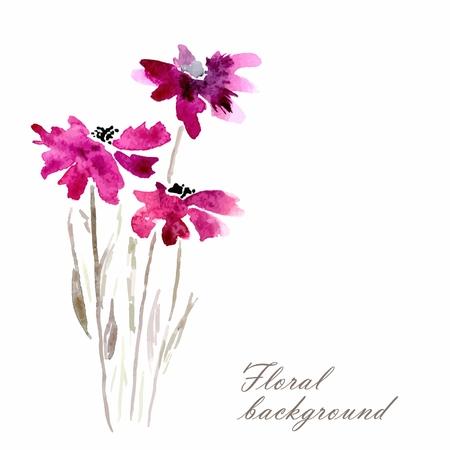 라일락 꽃 수채화 꽃 그림 꽃 꽃다발 꽃 배경 벡터 초대 생일 카드
