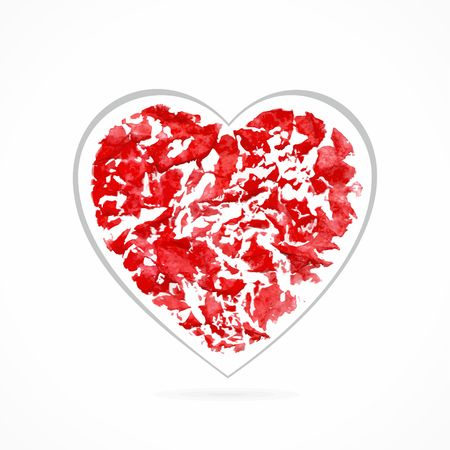 crumpled paper texture: Red heart  Design element for decoration  Romantic postcard  Crumpled paper texture  Valentine design element