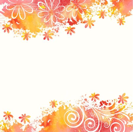 Summer background  Watercolor floral pattern