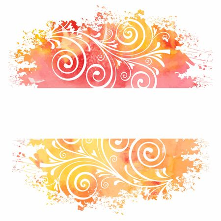 ink painting: Summer background  Watercolor floral pattern