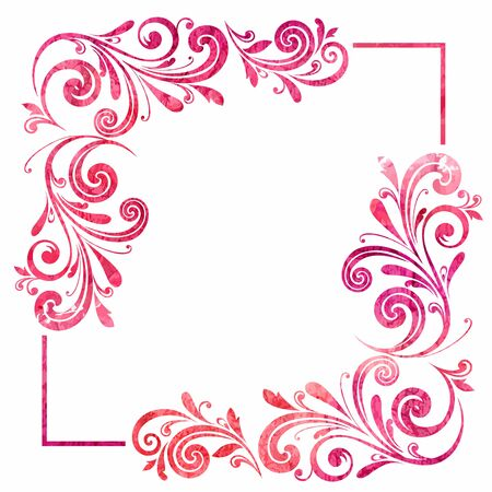 Grunge floral frame  Vector watercolor background  Vector