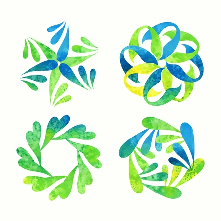 rosetta: Floral signs for decoration   Watercolor abstract elements