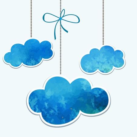 Clouds  Watercolor design element for decoration  Speech bubbles
