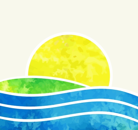 Beach and tropical sea with bright sun  Vector watercolor illustration  Vector