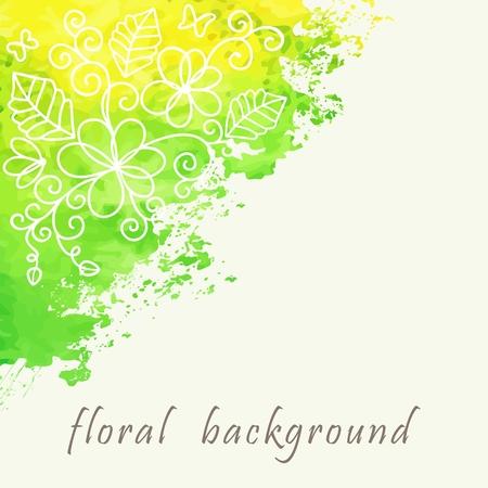 floral grunge: Watercolor floral background  Grunge floral pattern  Illustration