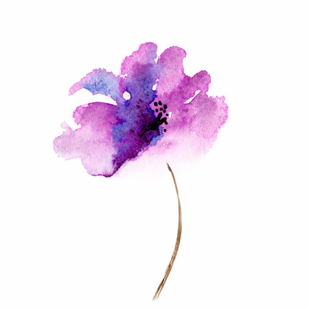 single: Lilac flower  Watercolor floral illustration  Floral decorative element  Floral background  Stock Photo
