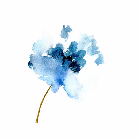 푸른 꽃의 수채화 꽃 그림 꽃 장식 요소와 꽃 배경