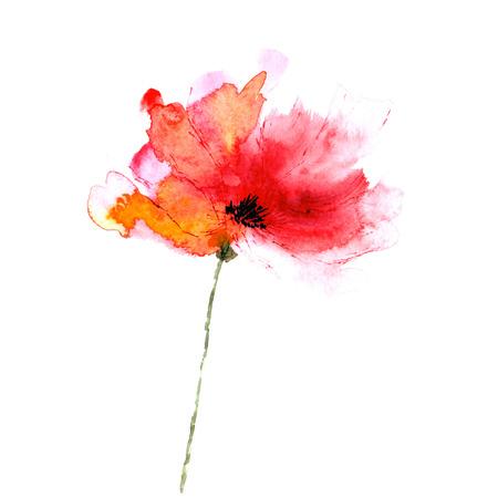 赤い花水彩画の花の装飾花の背景の誕生日カード