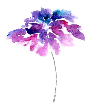 Lilac flower  Watercolor floral illustration  Floral decorative element  Floral background  Stok Fotoğraf