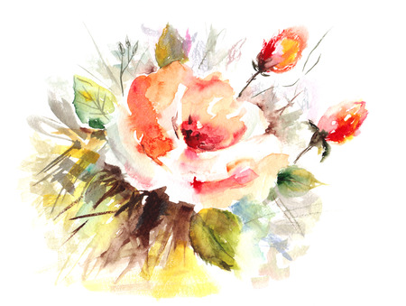 Rose  Floral background  Watercolor floral decoration  Birthday card  Stock Photo