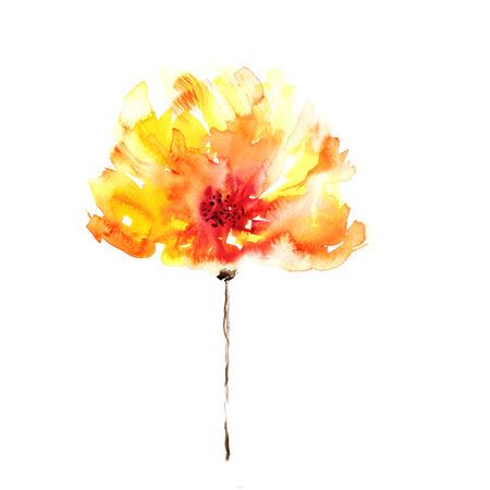 노란색 꽃 수채화 꽃 배경 꽃 장식 요소