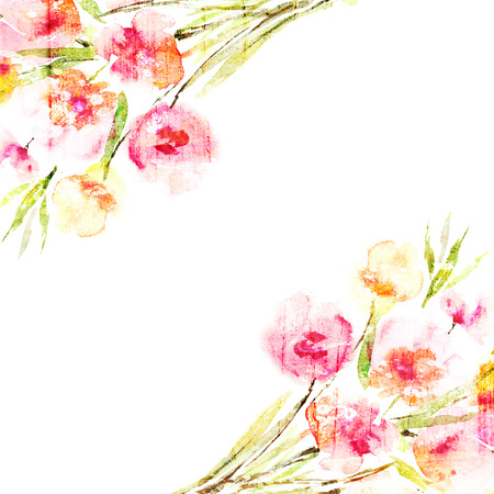 Floral background  Watercolor floral bouquet  Birthday card  Stock Photo