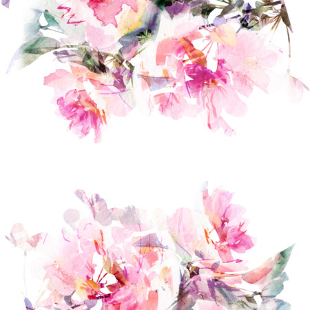 sakura flowers: Floral background  Sakura  Watercolor floral bouquet  card  Stock Photo