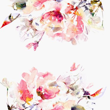 Floral background  Sakura  Watercolor floral bouquet  card  Banque d'images