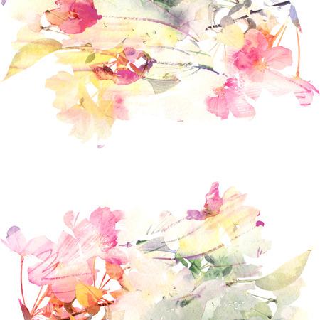 Fondo floral de las rosas de la acuarela tarjeta ramo floral Foto de archivo - 27102573