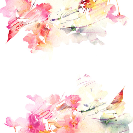 Floral background  Watercolor floral bouquet  Birthday card  版權商用圖片