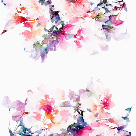 transparent brush: Floral background  Roses  Watercolor floral bouquet  Birthday card