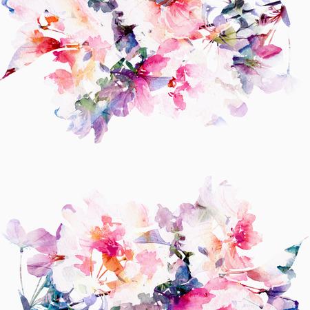 Fondo floral de las rosas de la acuarela Tarjeta de cumpleaños ramo floral Foto de archivo - 27491204