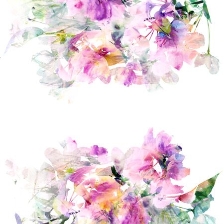 Floral background Aquarelle bouquet floral carte d'anniversaire Banque d'images - 27491236