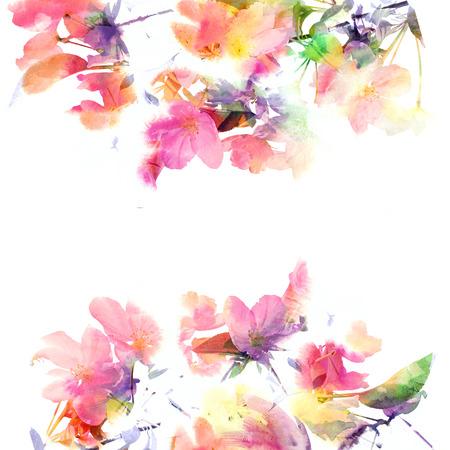 花の背景水彩画の花の花束の誕生日カード