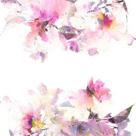 花の背景の水彩画の花の花束誕生日カード