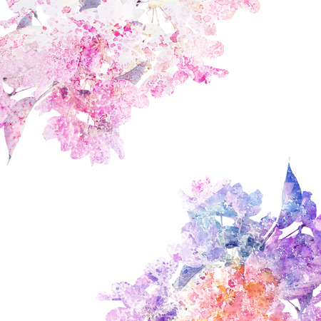 Floral background  Sakura  Watercolor floral bouquet  card  Stock Photo