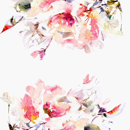 Floral background  Sakura  Watercolor floral bouquet  Birthday card