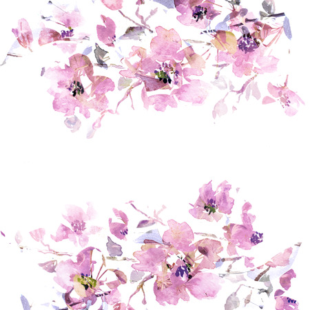 Floral background  Sakura  Watercolor floral bouquet  card  Banco de Imagens