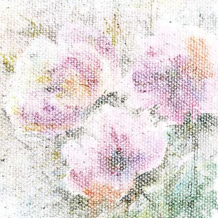 artificial flower: Vintage background  Floral card  Canvas texture