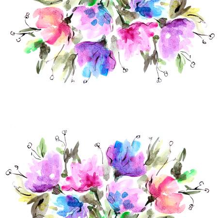 Acuarela floral fondo de la tarjeta de cumpleaños ramo floral Foto de archivo - 33649163