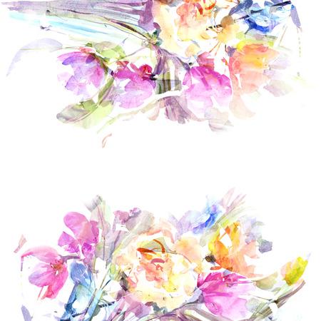 Floral background Aquarelle bouquet floral carte d'anniversaire Banque d'images - 33649171
