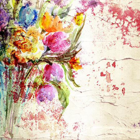 Flowers  Paint stucco background  Picture with floral bouquet  Painted canvas Stock Photo